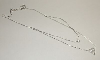 Vintage 925 Sterling Silver CZ Triangle Pyramid Double Drop Swag Chain Necklace