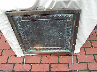 Fire Screen Embossed Brass Antique Vintage Retro Collectable