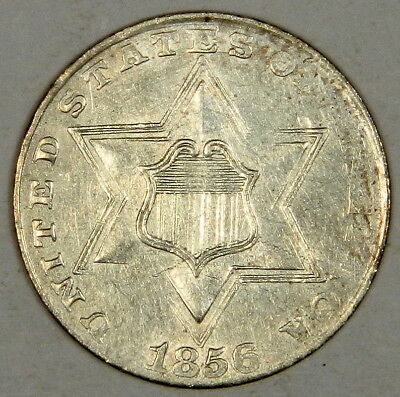 1856 Three Cent Silver - Sharp Bold Date Au About Uncirculated - Priced Right!