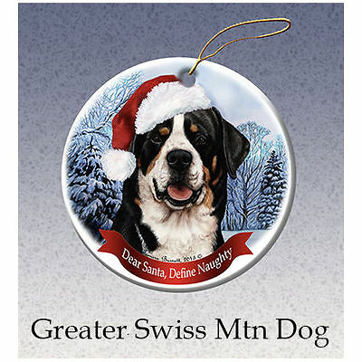 Greater Swiss Mountain Dog Howliday Porcelain China Dog Christmas Ornament