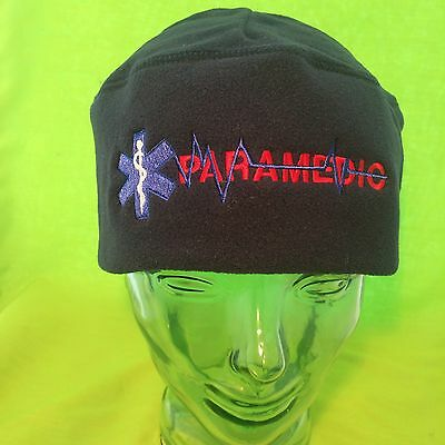 NEW Embroidered PARAMEDIC EMS Star Of Life Black Fleece Beanie Cap Hat