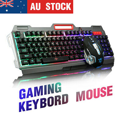 USB LED Rainbow Backlit Gaming Keyboard And Programmable Mouse 6 Buttons AU