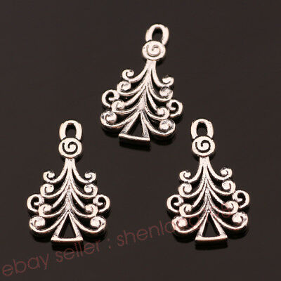 30 Leaf Charms Tree Leaves Charms 2 Sided Charm Antique Silver Tone 13x18 1284
