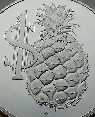 Cayman Islands 1 Dollar 1986. KM#74. .925 Silver Proof Crown coin. Pineapple.