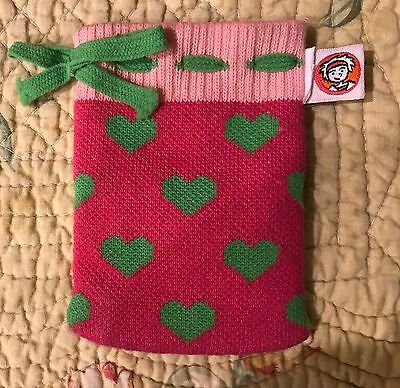 Little Miss Matched Drawstring Pouch pink green hearts