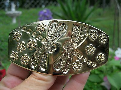 Vintage New Old Stock Gold Lightweight Metal Dragonfly Hair Barrette French Clip
