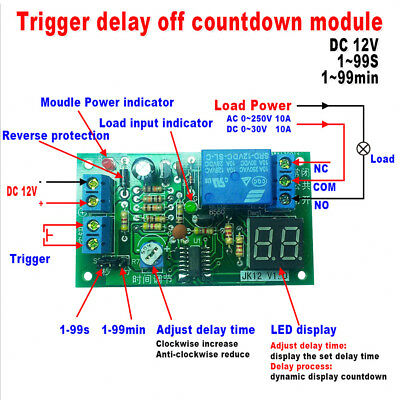 LED Modulo Temporizzatore Timer Delay Regolabile OFF Relay Switch Module DC 12V