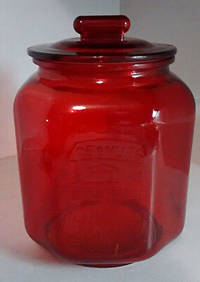 Large Red Glass 3 Cent Peanut Jar W/ Lid