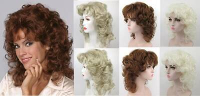 80'S Womens Short Medium Length Wavy Curls Curly Wig W/ Layered Front Sides Lisa