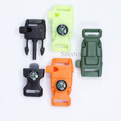 """5/8""""(15mm) Colorful Paracord Buckles Whistle Flint Fire Starter Striker Compass"""