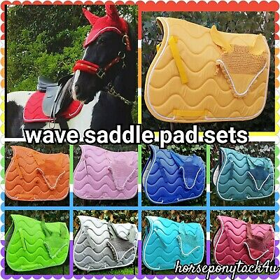 bright wave jumping Saddle cloth ,Pad numnah with matching fly veil set