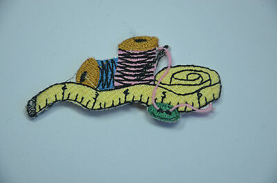 NEEDLEWORK SEWING COTTON REEL Embroidered Iron Sew On Cloth Patch Badge APPLIQUE