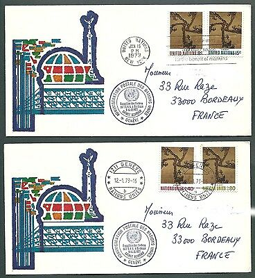 United Nations 2 very rare cover ONU UNO postmark 1972 bordeaux & NY Geneve 1973