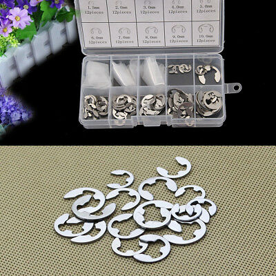 120Pcs 304 Stainless Steel E Clip Retaining Snap Ring Circlip Kit 1.5-10mm Set
