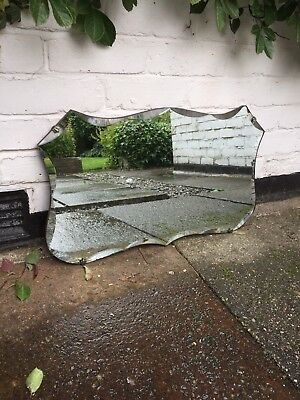 Frameless Mirror Vintage Mirror Frameless Rectangular Art Deco Mirror Beveled