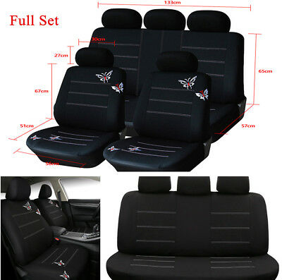 Butterfly Embroidery Polyester Fabric Auto Car Front & Rear Seat Cover Cushion