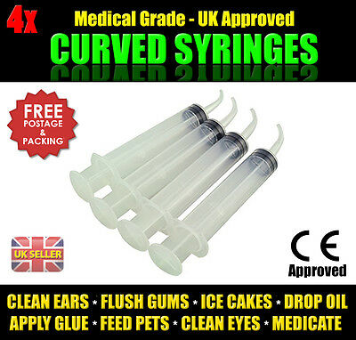 4x Disposable Syringe Curved Tip 12ml Syringe - CE Approved - UK Based