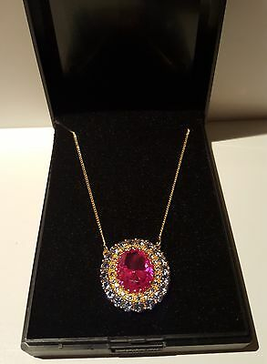 Gold Plated Sterling Silver Pink Sapphire and Blue Spinel Necklace  FREEPOST New