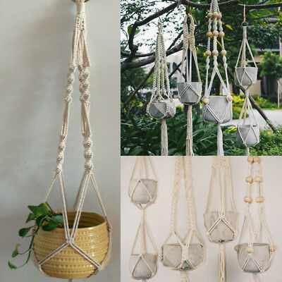 Handcrafted Braided Rope Hanging Net Basket Flower Holder Plant Hanger Deluxe