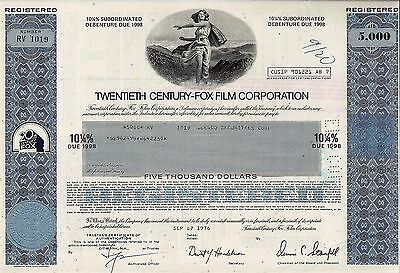 20th Twentieth Century-Fox Film Corporation, 1978, 10 1/4% Debenture  (5.000 $)