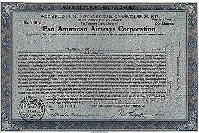 Pan American Airways Corporation, 1945, Warrant (100 Shares) sig. Trippe
