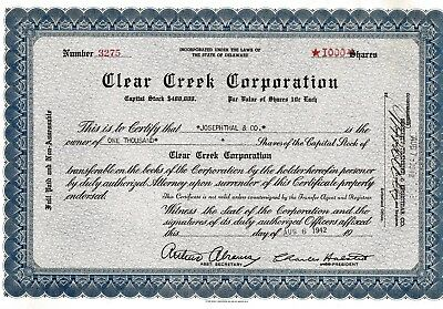 Clear Creek Corporation., Delaware, 1942 (1.000 Shares)