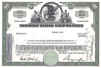 Newmont Mining Corporation, Delaware, 1970  (100 Shares)