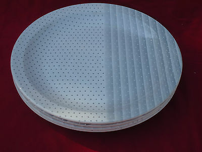 Lovely Vintage Churchill England Dinner Plates x 4 *Gray Shades *Stripes & Dots