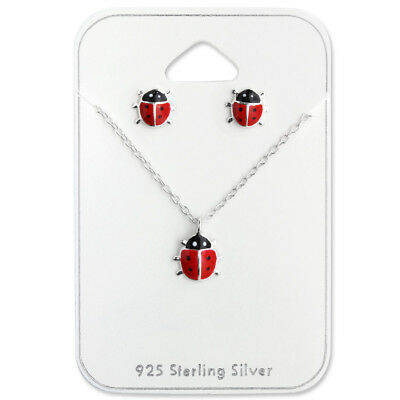 925 Sterling Silver Red Ladybug Earrings and Necklace Gift Set Kids Girls