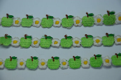3x 20cm GREEN APPLE DAISY TRIMMING Embroidered Sew Iron On Cloth Patch  APPLIQUE