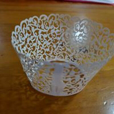 Set Of 20 Laser Cut Flourish Ivory Cupcake Wrappers