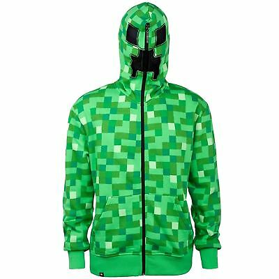 MINECRAFT Zip Up Premium Creeper Face Hoodie Youth Hooded Sweater Kids Ages 7-14