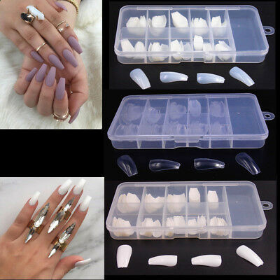 100PCS DIY Ballerina Coffin Shape Full Cover False Fake Nails Art Tips with Box
