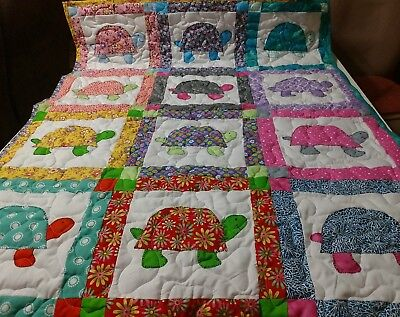 Handcrafted Handmade Girl Appliqued Pieced Turtle Baby Crib Lap Throw Quilt