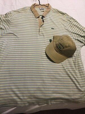 4adc30a5d33 Lacoste mens button up t shirt rugby with matching hat 100% Authentic