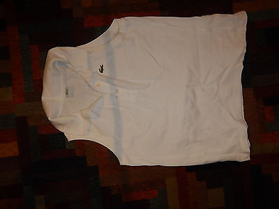 frau shirt LACOSTE women crop top sexy size 38 short top sleeveless white Used