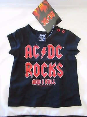 AC DC  BABY TODDLER KIDS TEE SHIRT TOP Grey Marle/Black   SIZE 00 0 1