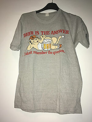 Beer Is The Answer Vintage T-Shirt Size M