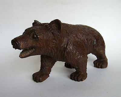 LARGE ANTIQUE  OAK  BLACK FOREST  SWISS CARVED STROLLING BEAR 19th C