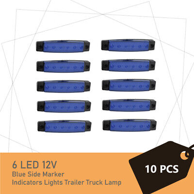 10 x 6 LED Blue Side Marker Clearance Trailer Lights Lamp Indicator Truck 12V