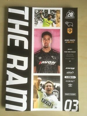 Derby County v Hull City 08/09/2017 Matchday programme Free P & P