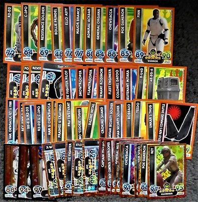 60 Topps Star Wars Force Attax Extra Force Awakens 2016 Trading Cards Bundle