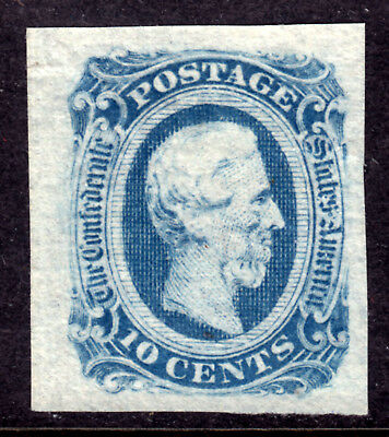 CSA #12a 10c MILKY BLUE, 1863 IMPERF on THIN PAPER, VF, UNUSED