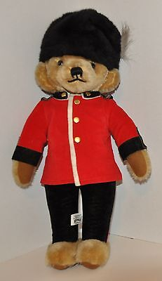 """Vintage """"merrythoughts Chelsea Guard Bear"""" Jointed Head 20"""" Tall"""