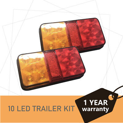 2 x 10 LEDS TRAILER LIGHTS TAIL STOP LIGHT LAMPS INDICATOR SUBMERSIBLE BOAT 12 V