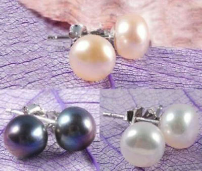3Color Wholesale Genuine Natural Akoya Cultured Pearl Silver Stud Earrings AAA+