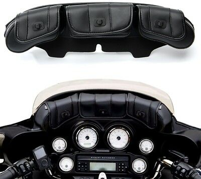 3 Pouch Pocket Fairing Wind Shield Bag For Harley Electra Street Glide Touring