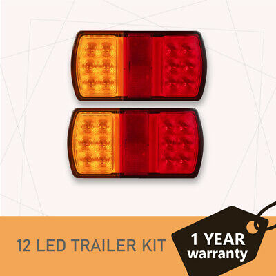 2 x 12 LED Trailer Lights Tail Stop Indicator Lamp Truck Trailer Submersible 12V