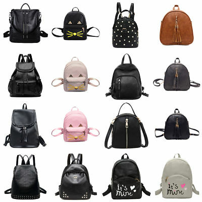 Women Leather Backpack Girl College School Shoulder Bag Travel Rucksack Satchel
