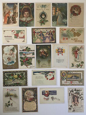 Vintage Early 1900s CHRISTMAS POSTCARDS Lot #18